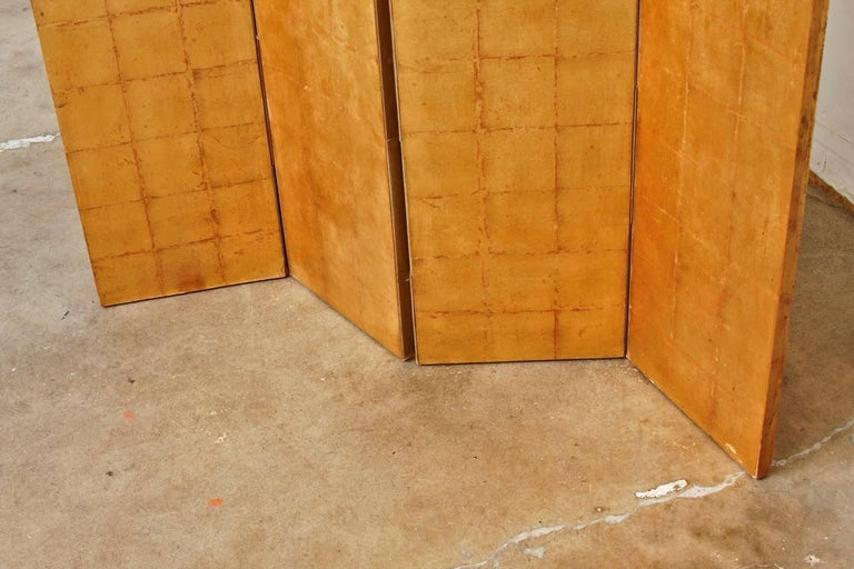 Four-Panel Gold Leaf Room Divider Two Sided Screen In Good Condition For Sale In Oakland, CA