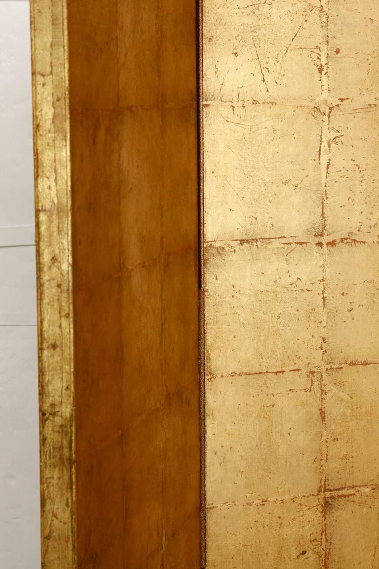 20th Century Four-Panel Gold Leaf Room Divider Two Sided Screen For Sale