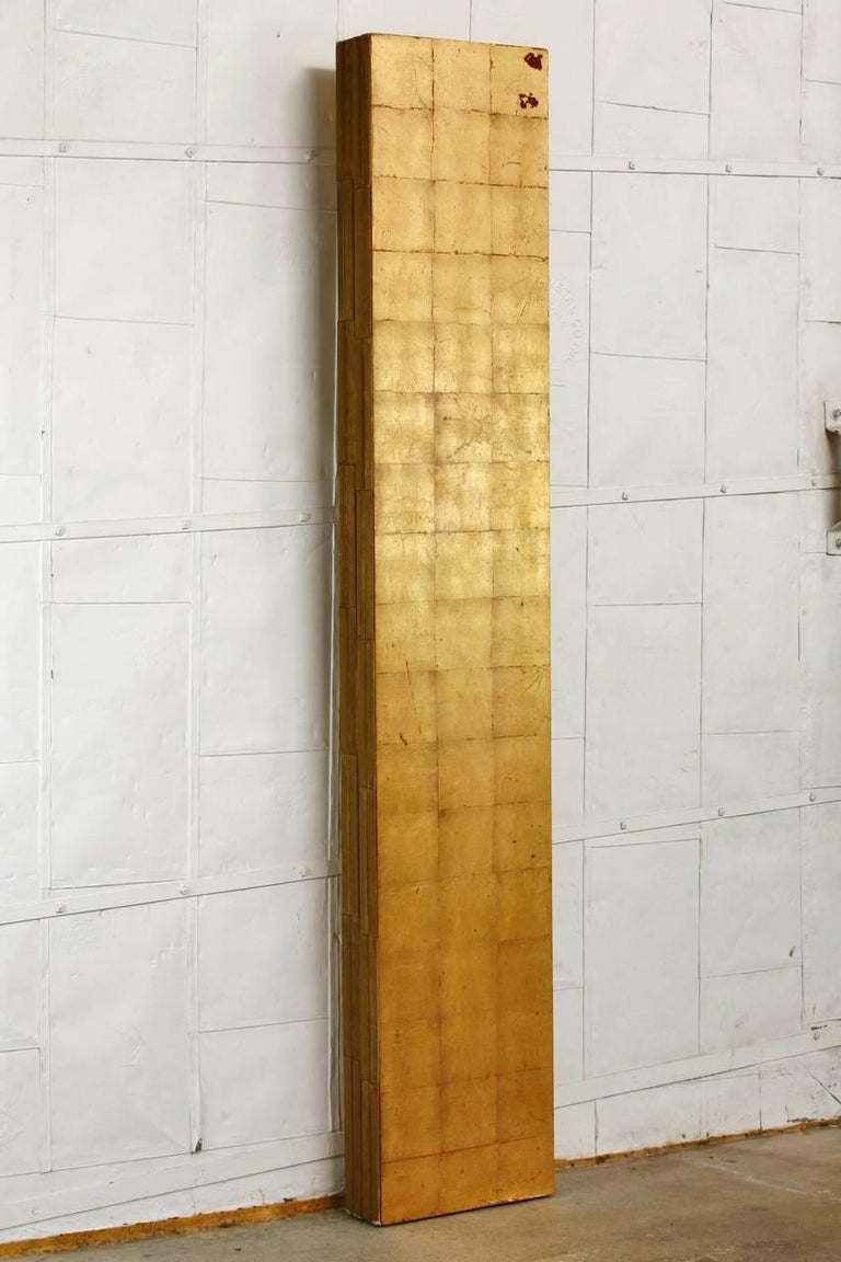 Four-Panel Gold Leaf Room Divider Two Sided Screen For Sale 1