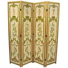 Four Panel Hand Painted French Cherub Putti Musical Dressing Screen Room Divider