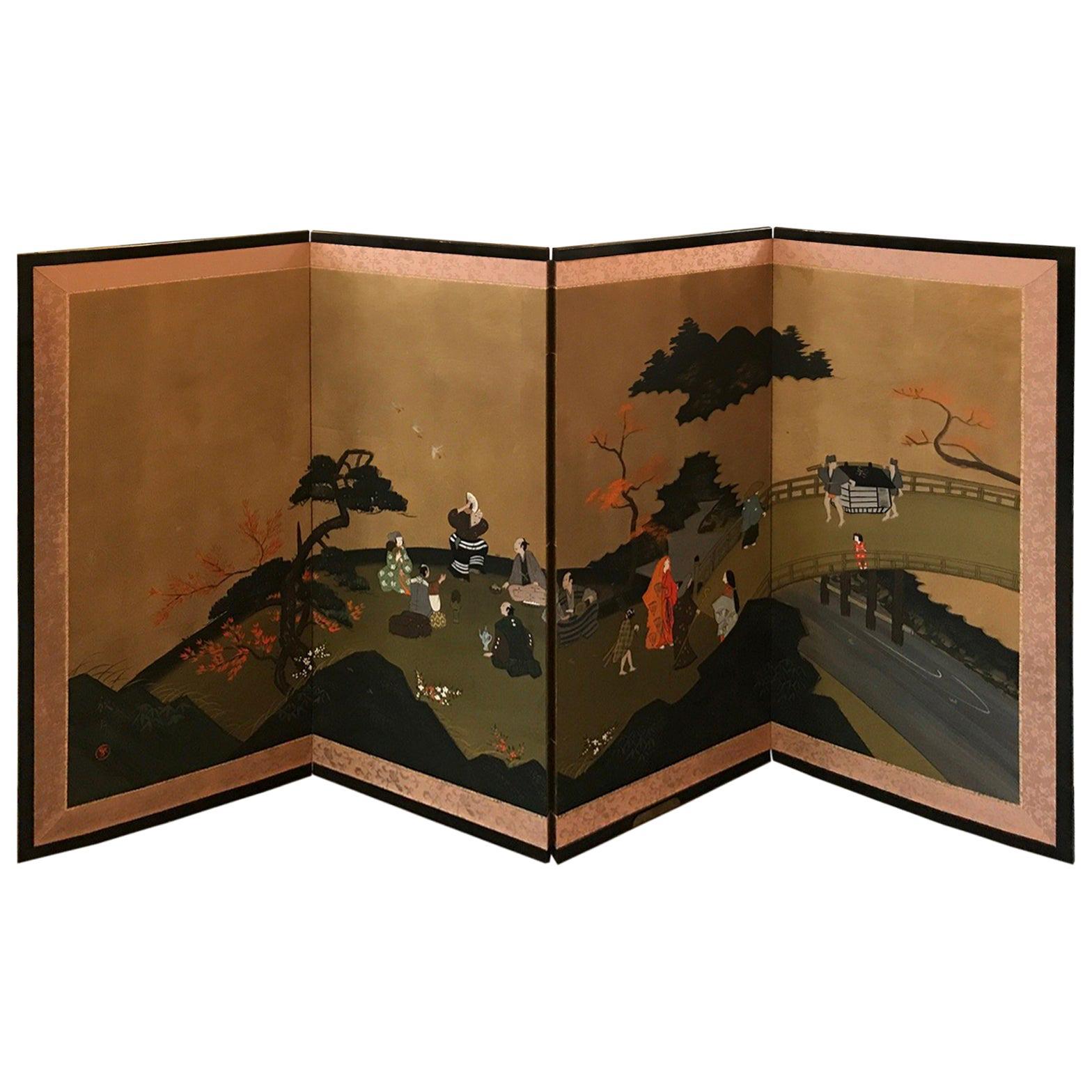 Four-Panel Japanese Byobu Screen
