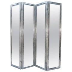 Four Panel Mirror Screen Framed in 12-Karat Gilt Moulding