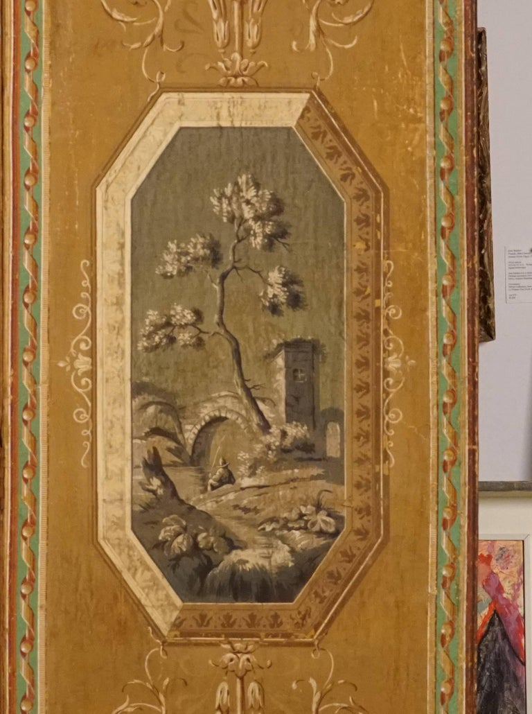 Four-Panel Painted Neoclassical French Screen For Sale 7