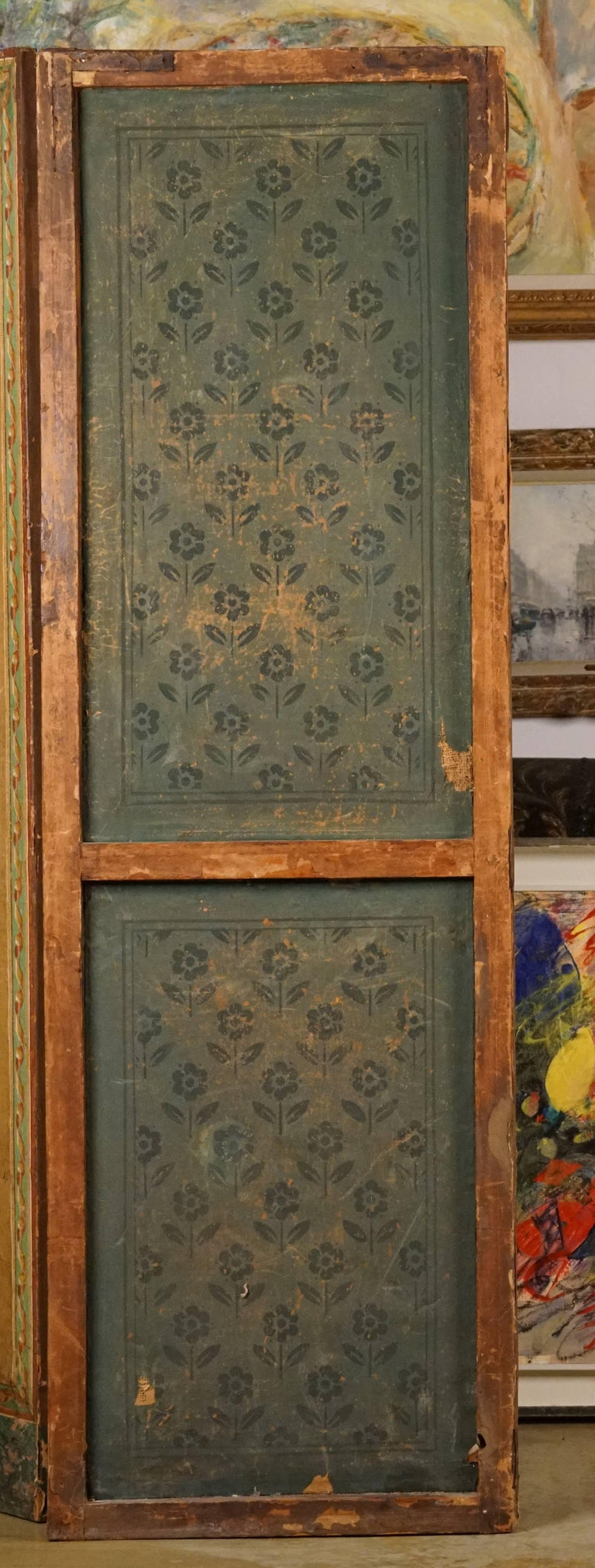 Four-Panel Painted Neoclassical French Screen For Sale 8