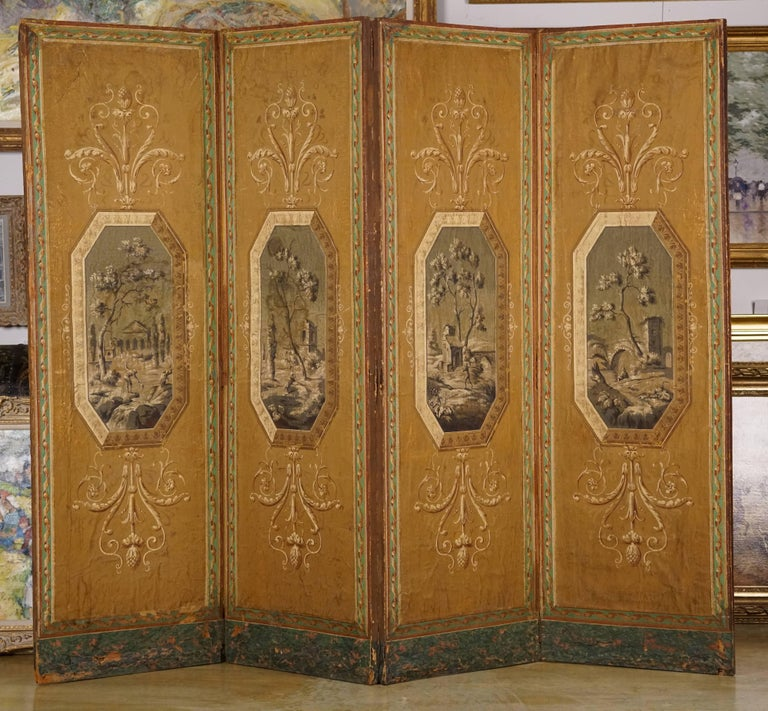 Each panel decorated with a landscape.  Each panel is H.69 in. by 22 in.