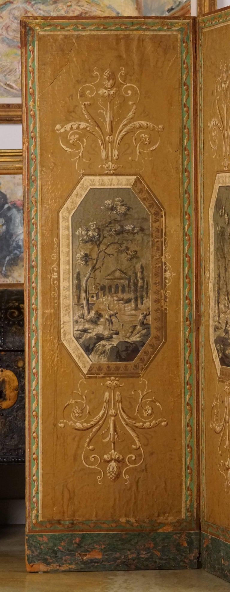 Four-Panel Painted Neoclassical French Screen In Good Condition For Sale In Sheffield, MA