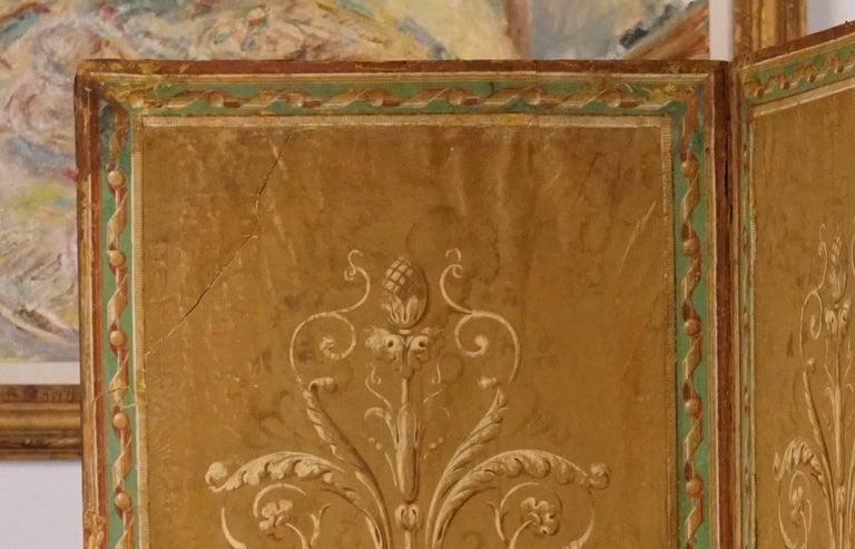 18th Century and Earlier Four-Panel Painted Neoclassical French Screen For Sale
