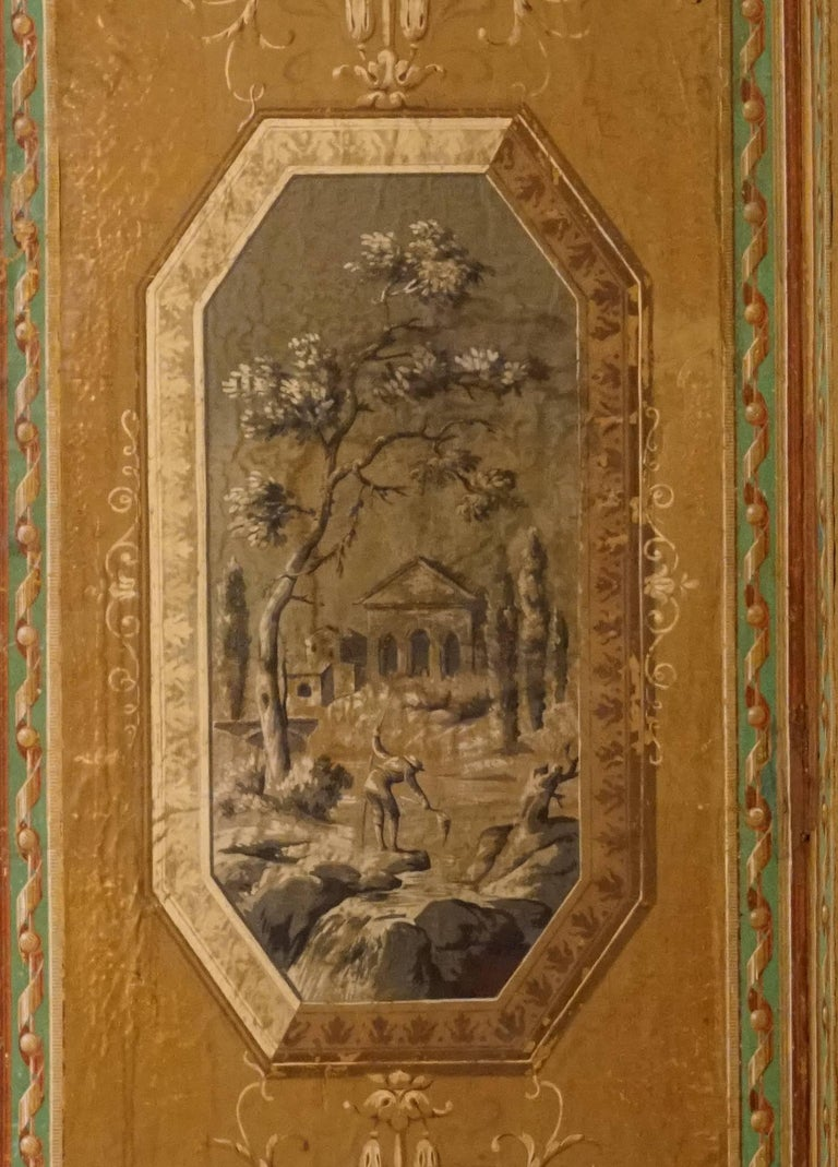 Four-Panel Painted Neoclassical French Screen For Sale 1