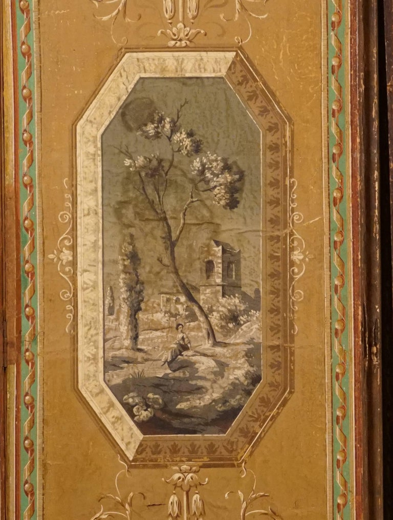 Four-Panel Painted Neoclassical French Screen For Sale 3