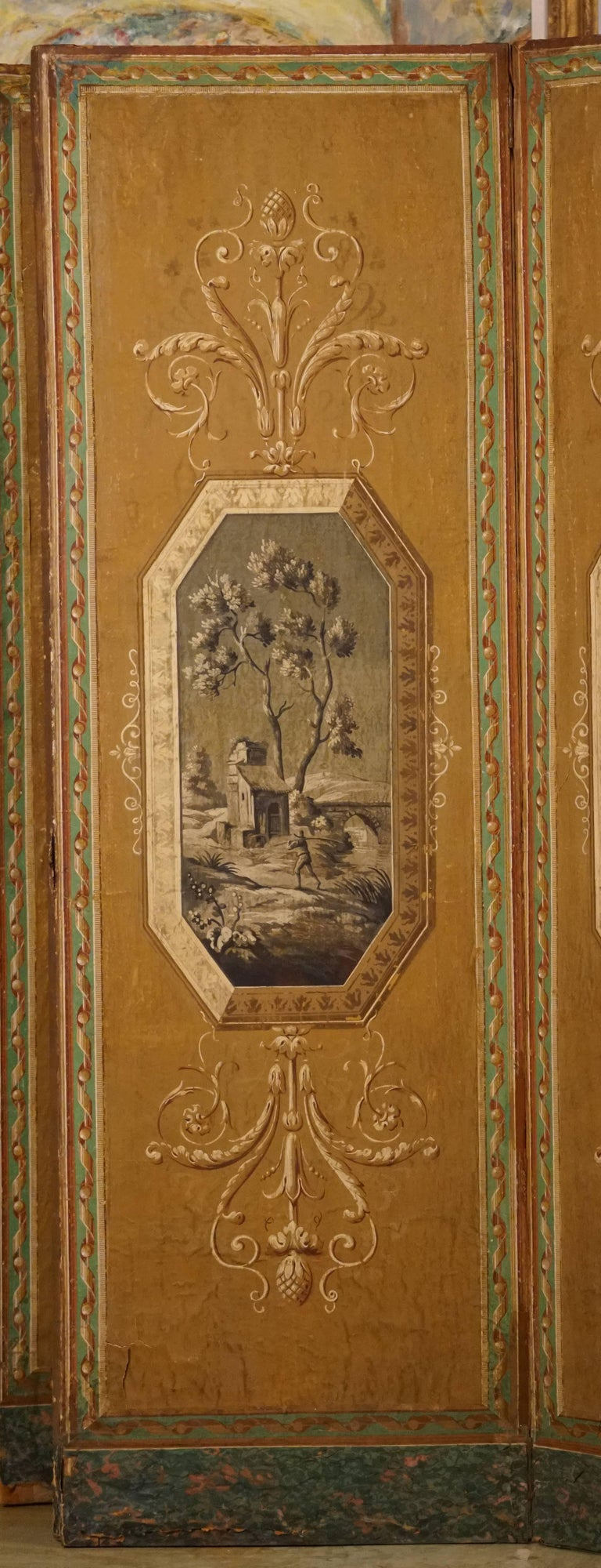 Four-Panel Painted Neoclassical French Screen For Sale 4