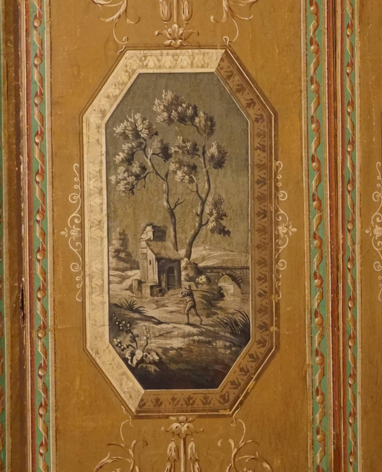 Four-Panel Painted Neoclassical French Screen For Sale 5