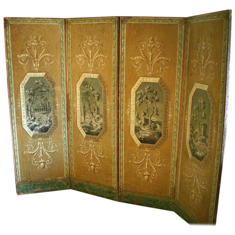 Four-Panel Painted Neoclassical French Screen For Sale