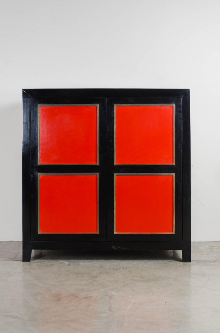 American Four-Panel Red Lacquer Armoire with Brass Trim by Robert Kuo, Limited Editon For Sale