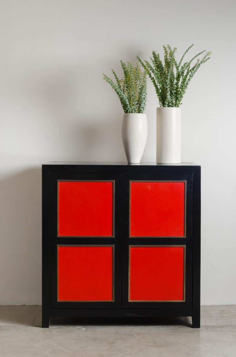 Four-Panel Red Lacquer Armoire with Brass Trim by Robert Kuo, Limited Editon In New Condition For Sale In West Hollywood, CA