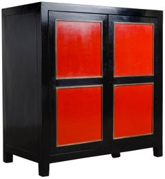 Four-Panel Red Lacquer Armoire with Brass Trim by Robert Kuo, Limited Editon