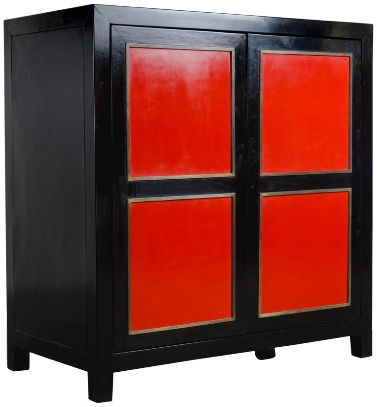 Four-Panel Red Lacquer Armoire with Brass Trim by Robert Kuo, Limited Editon For Sale