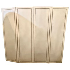 Four Panel White Linen Upholstered Screen or Room Divider with Piano Hinges