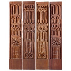 Four Panelcarve Redwood Bas Relief Panels, Evelyn Ackerman California Modern
