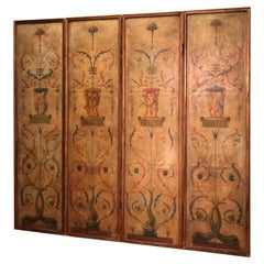 Four-Paneled Hand Painted Neoclassical Screen
