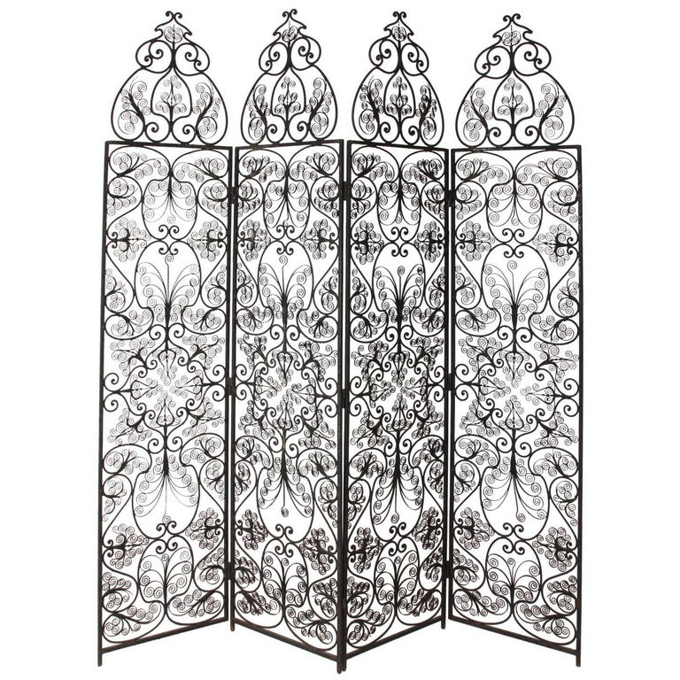Four-Paneled Wrought Iron Screen