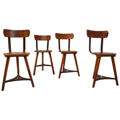 Four Patinated Wooden Industrial Bauhaus Chairs, Germany, 1930s