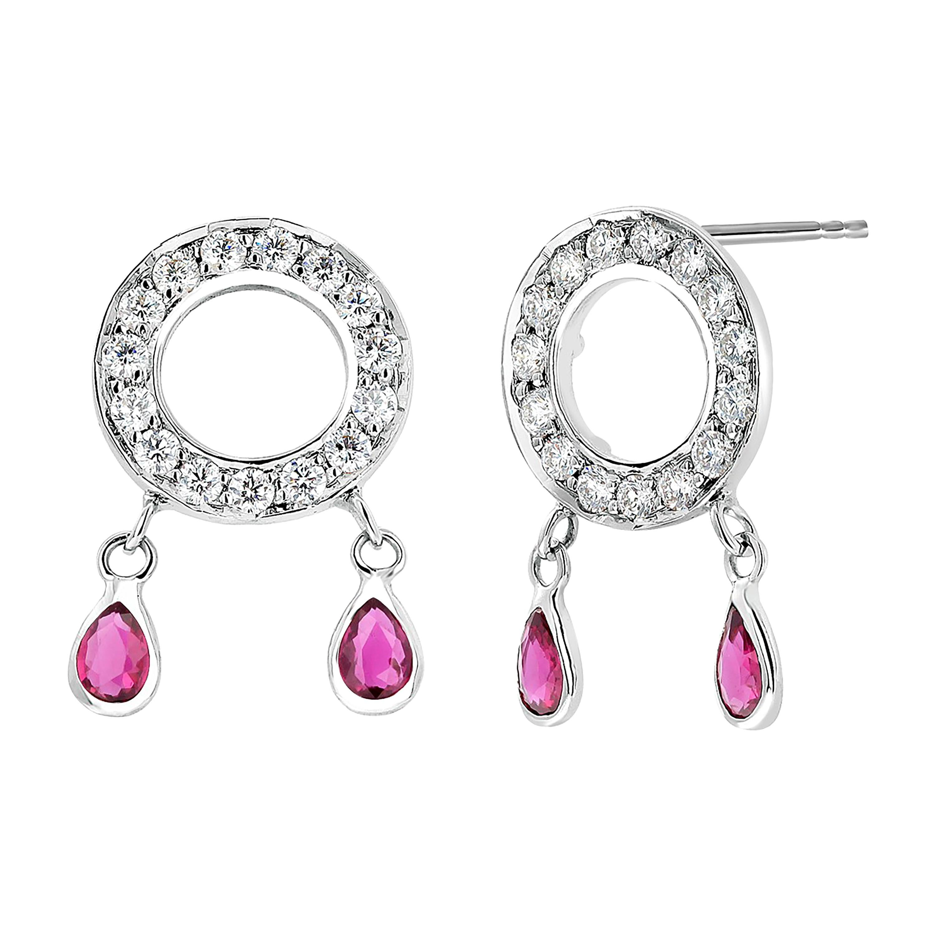Four Pear-Shaped Dangle Ruby and Diamond White Gold Circle Cluster Earrings
