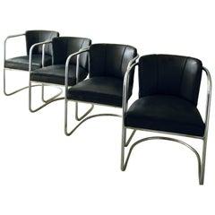 Four PEL Armchairs Tubular Steel Cantilever Vintage Modernist Cox Bauhaus