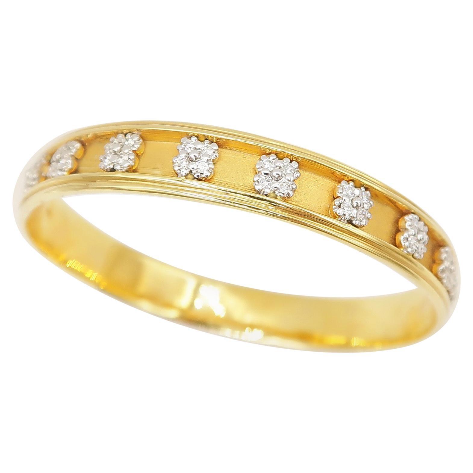 Four Petal Flower Diamond Motif Bangle in 18 Karat Yellow Gold