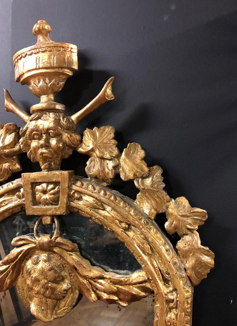 A set of four petite Italian 18th century giltwood mirrors, the crest of each with urn finial and grotesque mask issuing vine leaves over arched and tapered frame with guilloche moulding, a classical portrait medallion with ribbon tied garland