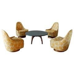 Four Petite Rocking Swivel Chairs by Milo Baughman for Thayer Coggin with Table