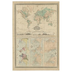 Four Physical Maps of the World on One Sheet by Johnson, 1872