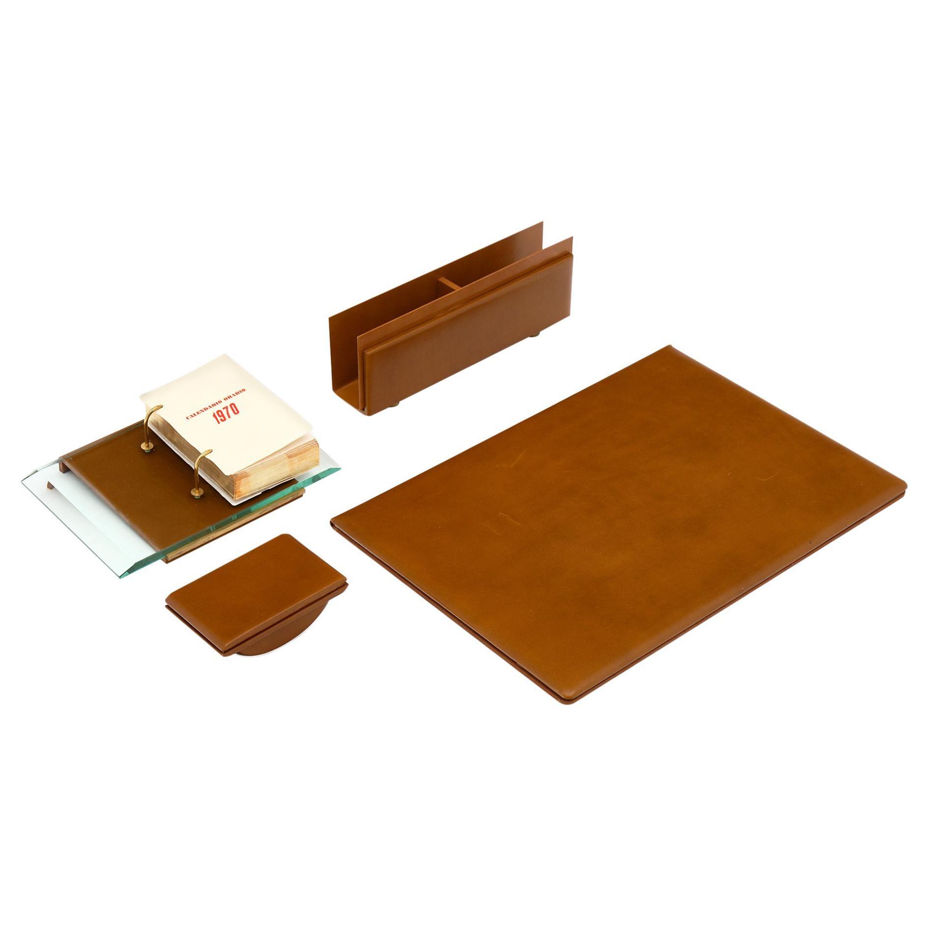 Four-Piece 1970s Italian Leather Desk Set