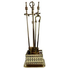 Four-Piece Brass Vintage Fire Tool Set with Stand-Greek Key Border