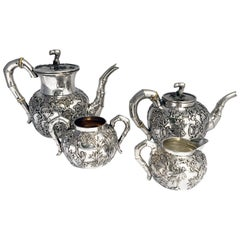 Four Piece Chinese Export Silver Bamboo Tea Set
