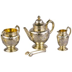 Four Piece English Parcel-Gilt Silver Bachelor Tea Service