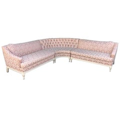 Four-Piece Hollywood Regency Pink Damask Tufted Sectional Sofa