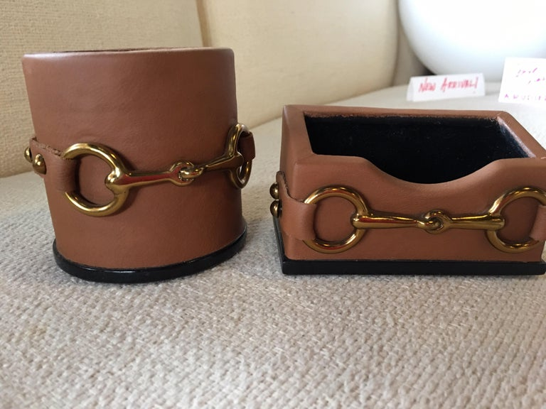 Philippine Four Piece Leather Desk Set Hand Made by Maitland Smith in the Style of Gucci For Sale