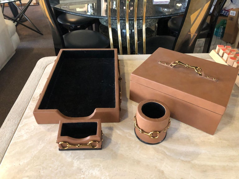 Late 20th Century Four Piece Leather Desk Set Hand Made by Maitland Smith in the Style of Gucci For Sale