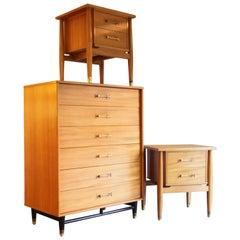 Four-Piece Milo Baughman Bedroom Set Dresser or Nightstand