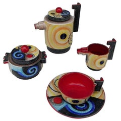 Four-Piece Set with Pitcher, Pot Cups and Plate