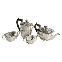 Four-Piece Silver Tea Set of Football Importance, 1946, England