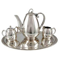Four-Piece Sterling Silver Coffee Set by Gonzalo W. Moreno