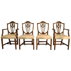 Four-Pieces Set Sheraton Style Bevan Funnel Reprodux Mahogany Dining Chairs