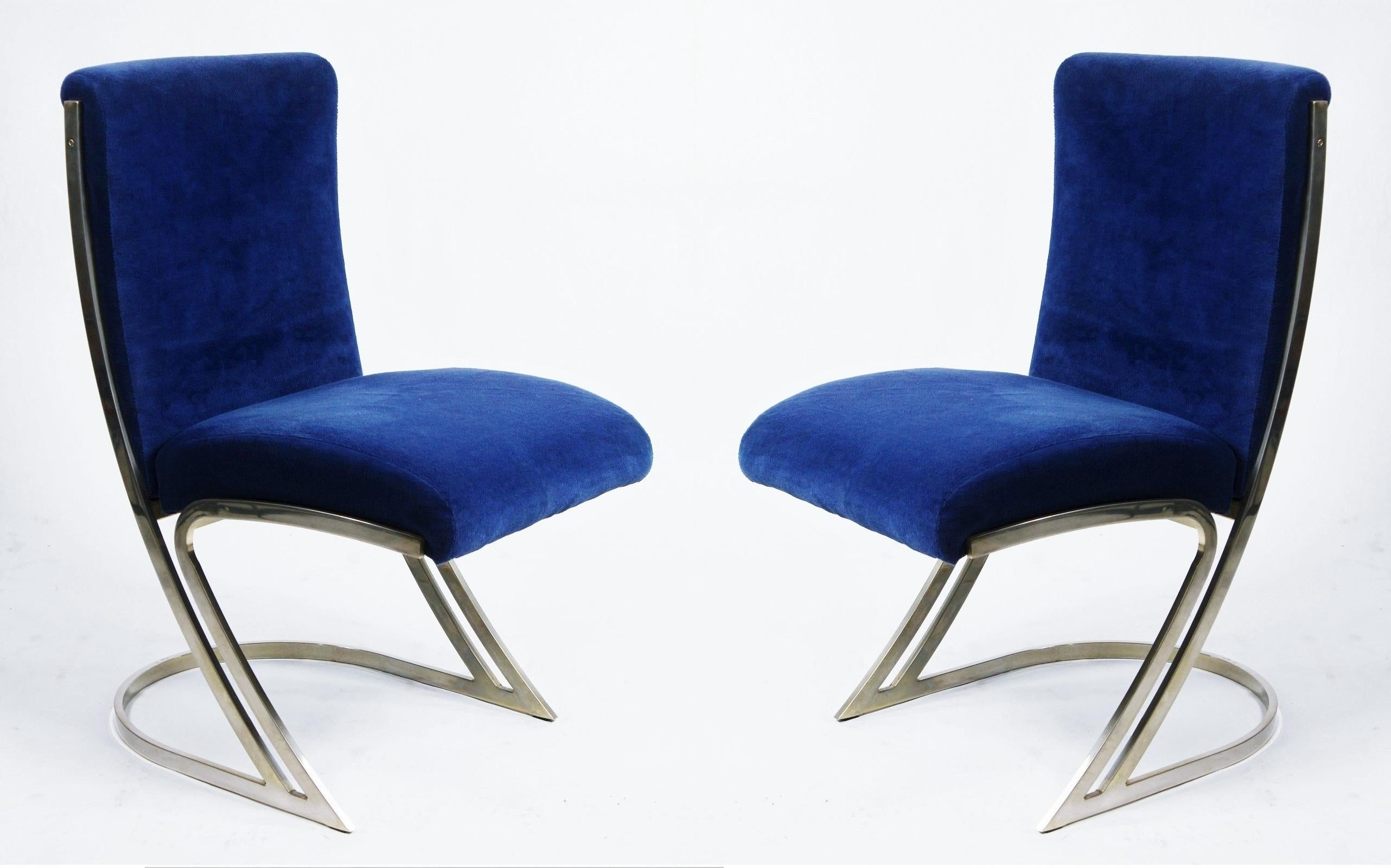 Four Pierre Cardin Chrome Dining Chairs In Blue Velvet