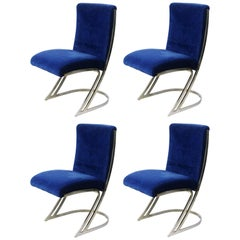 Four Pierre Cardin Chrome Dining Chairs in Blue Velvet