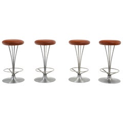 Four Piet Hein Counter Height Bar Stools, New Cognac Leather