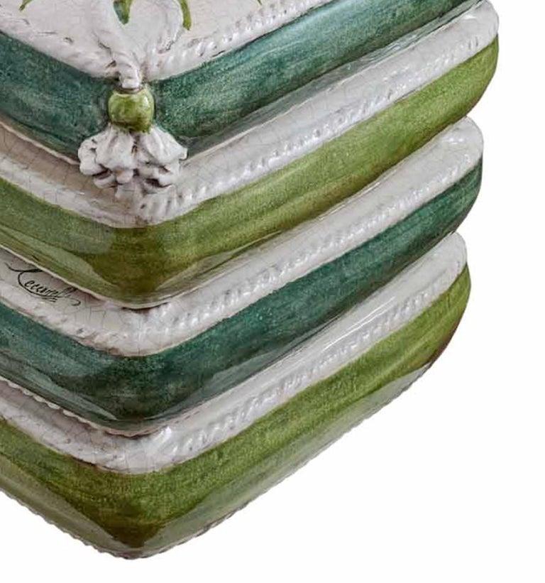 Italian Four-Pillow Decorative Sculpture by Ceccarelli For Sale