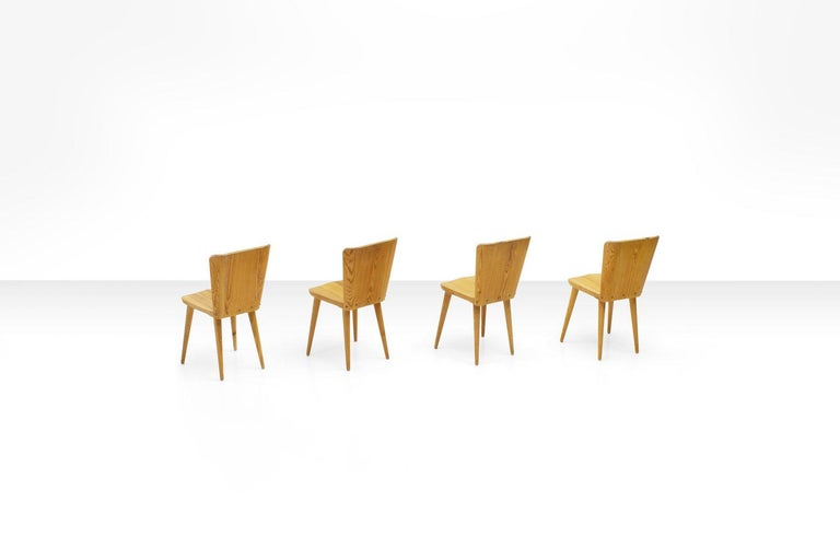 Scandinavian Modern Four Pine Dining Chairs by Goran Malmvall for Karl Andersson & Söner, Sweden For Sale