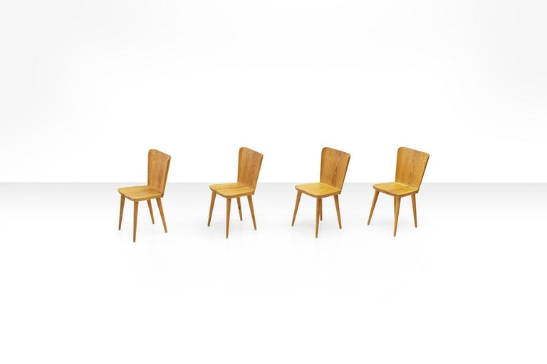 Swedish Four Pine Dining Chairs by Goran Malmvall for Karl Andersson & Söner, Sweden For Sale