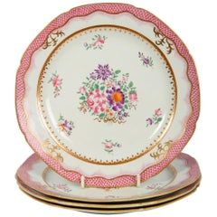 Four Pink Antique Worcester Dishes in the Famille Rose Style